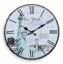 levandeo Wanduhr aus Holz 29cm - Motiv: Amerika USA New York Freiheitsstatue - Küchenuhr Uhr römische Ziffern Quartzuhr - 1