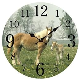 Likecom Digitale Runde Wanduhr Ohne Tickgeräusche Uhr Haushalt Klassenzimmer Pferde Muster Mute Clock Wall Decor - 1