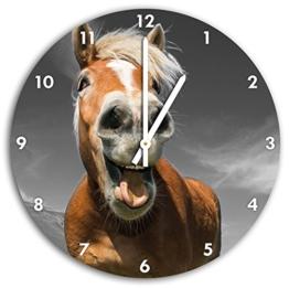 Lustiges Pferd in der Natur B&W Detail, Wanduhr Durchmesser 30cm mit weißen spitzen Zeigern und Ziffernblatt, Dekoartikel, Designuhr, Aluverbund sehr schön für Wohnzimmer, Kinderzimmer, Arbeitszimmer - 1