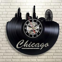 Luziang Vinyl Record Wanduhr Hohle Schallplatte Uhr USA Chicago Ethylen Uhr Retro Handgefertigte Wand Dekoration Rekord Uhr Größe: 30cm, passend für: Wohnzimmer, Schlafzimmer, Studie, Büro, Etc. - 1