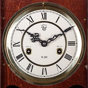Maxstore Retro Vintage mechanische Wanduhr ORPHEUS mahagoni, 73 cm x 29 cm x 15 cm, Regulator, Pendeluhr antik Holz - 6