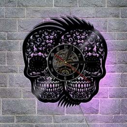 Meet Beauty Handgefertigte Uhr zum Aufhängen, Doppelte mexikanische Totenköpfe, Nachtlicht, Kreative Hohle Vinyl-Schallplatten, Wanduhr, Vintage, Halloween, Party-Dekoration, Geschenk, 30,5 cm rund - 1