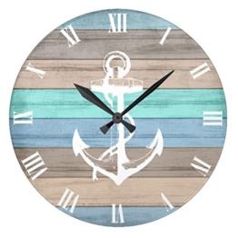 Monsety Wanduhr, Antik-Optik, Holz, rustikal, Strand, Nautische Streifen, Anker Wanduhr, Dekoration für Kinderzimmer, 30 cm, Geschenk - 1