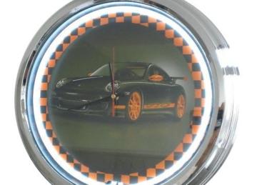 Neon Uhr Porsche GT3 Wanduhr Deko-Uhr Leuchtuhr USA 50's Style Retro Uhr Neonuhr - 1