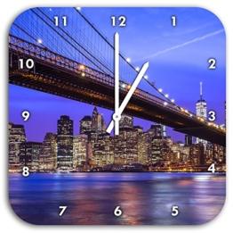 New York Brooklyn Bridge, Wanduhr Quadratisch Durchmesser 28cm mit weißen spitzen Zeigern und Ziffernblatt, Dekoartikel, Designuhr, Aluverbund sehr schön für Wohnzimmer, Kinderzimmer, Arbeitszimmer - 1