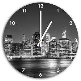 New York City, Wanduhr Durchmesser 30cm mit weißen spitzen Zeigern und Ziffernblatt, Dekoartikel, Designuhr, Aluverbund sehr schön für Wohnzimmer, Kinderzimmer, Arbeitszimmer - 1