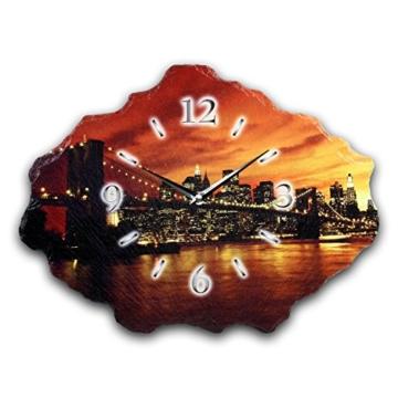 New York Luxus Designer Wanduhr Funkuhr aus Schiefer *Made in Germany leise ohne ticken WS223FL - 1
