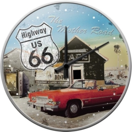 Nostalgic-Art 51033 US Highways - Highway 66 The Mother Road, Wanduhr 31cm - 1