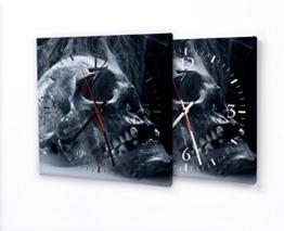 Printalio Skull - Moderne Wanduhr mit Fotodruck auf Leinwand Keilrahmen | Fotouhr Bilderuhr Motivuhr Küchenuhr Modern Hochwertig Quarz | 30 cm x 30 cm mit weißen Zeigern - 1