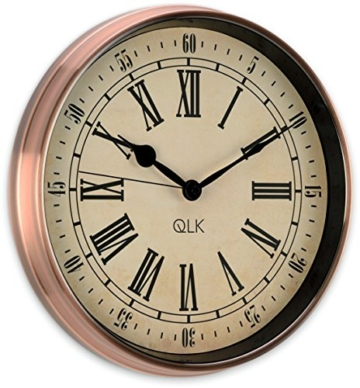 QLK Nostalgie Wanduhr Kupfer PITTO, ohne Tickgeräusche, Antik Optik, Shabby, geräuscharme Uhr, Kupferuhr, Vintage ø32 cm - 2