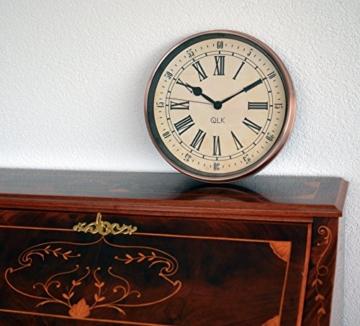 QLK Nostalgie Wanduhr Kupfer PITTO, ohne Tickgeräusche, Antik Optik, Shabby, geräuscharme Uhr, Kupferuhr, Vintage ø32 cm - 3