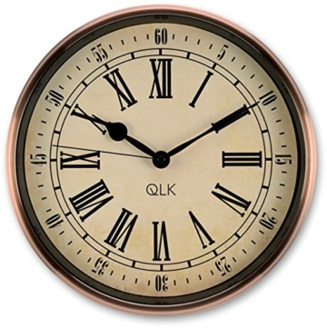 QLK Nostalgie Wanduhr Kupfer PITTO, ohne Tickgeräusche, Antik Optik, Shabby, geräuscharme Uhr, Kupferuhr, Vintage ø32 cm - 1