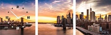 Quadratische Uhr Brooklyn Bridge Ine die Abend Sonnenuntergang New York City Manhattan Wanduhr - 1