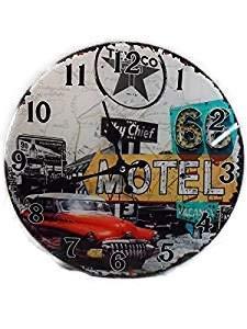Route 66 Uhr 30 cm Amerika USA Wanduhr Glas Clock Oldtimer Motel Car GIT 401 A - 1