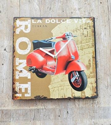 Schmiedegarten Wanduhr Scooter Rom aus Metall im Vintage Shabby Stil - Blechschild Hängeuhr - Vespa Roller Roma - 2