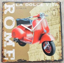 Schmiedegarten Wanduhr Scooter Rom aus Metall im Vintage Shabby Stil - Blechschild Hängeuhr - Vespa Roller Roma - 1
