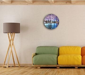 Skyline New York bei Nacht, Wanduhr Durchmesser 30cm mit weißen spitzen Zeigern und Ziffernblatt, Dekoartikel, Designuhr, Aluverbund sehr schön für Wohnzimmer, Kinderzimmer, Arbeitszimmer - 2