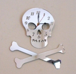 Totenkopf Knochen & Uhr Spiegel, 40 cm - 1