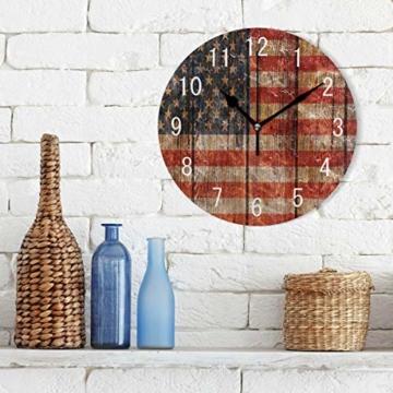Use7 Home Decor Vintage Wanduhr aus Holz mit USA-Flagge, rund, Acryl, geräuschlos, für Wohnzimmer, Küche, Schlafzimmer - 2