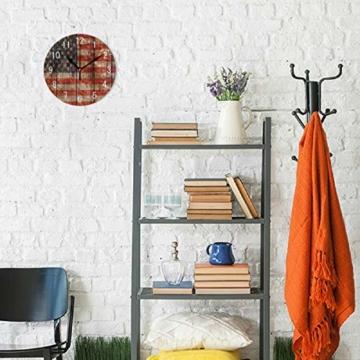 Use7 Home Decor Vintage Wanduhr aus Holz mit USA-Flagge, rund, Acryl, geräuschlos, für Wohnzimmer, Küche, Schlafzimmer - 3
