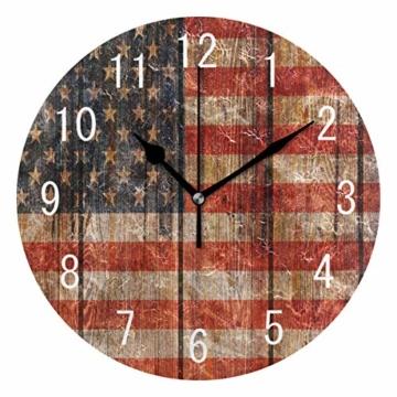 Use7 Home Decor Vintage Wanduhr aus Holz mit USA-Flagge, rund, Acryl, geräuschlos, für Wohnzimmer, Küche, Schlafzimmer - 1