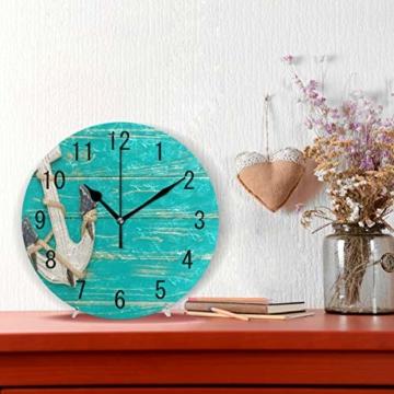 Use7 Home Decor Wanduhr, Retro-Anker auf blauem Holz, rund, Acryl, Nicht tickend, geräuschlose Uhr, Kunst für Wohnzimmer, Küche, Schlafzimmer - 2