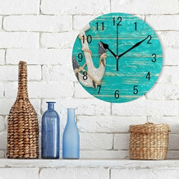 Use7 Home Decor Wanduhr, Retro-Anker auf blauem Holz, rund, Acryl, Nicht tickend, geräuschlose Uhr, Kunst für Wohnzimmer, Küche, Schlafzimmer - 3