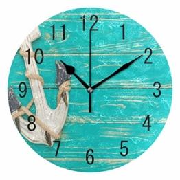 Use7 Home Decor Wanduhr, Retro-Anker auf blauem Holz, rund, Acryl, Nicht tickend, geräuschlose Uhr, Kunst für Wohnzimmer, Küche, Schlafzimmer - 1