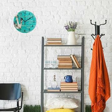 Use7 Home Decor Wanduhr, Retro-Anker auf blauem Holz, rund, Acryl, Nicht tickend, geräuschlose Uhr, Kunst für Wohnzimmer, Küche, Schlafzimmer - 4