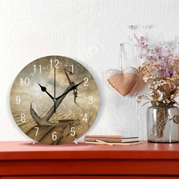 Use7 Wanduhr, Motiv Anker in der Wüste, Acryl, rund, Nicht tickend, geräuschlose Uhr, Kunst für Wohnzimmer, Küche, Schlafzimmer - 2