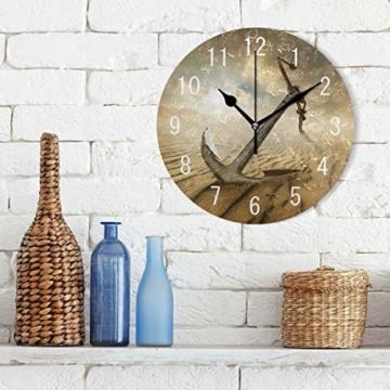 Use7 Wanduhr, Motiv Anker in der Wüste, Acryl, rund, Nicht tickend, geräuschlose Uhr, Kunst für Wohnzimmer, Küche, Schlafzimmer - 3