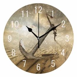 Use7 Wanduhr, Motiv Anker in der Wüste, Acryl, rund, Nicht tickend, geräuschlose Uhr, Kunst für Wohnzimmer, Küche, Schlafzimmer - 1