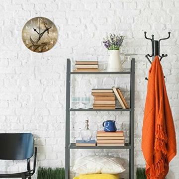Use7 Wanduhr, Motiv Anker in der Wüste, Acryl, rund, Nicht tickend, geräuschlose Uhr, Kunst für Wohnzimmer, Küche, Schlafzimmer - 4