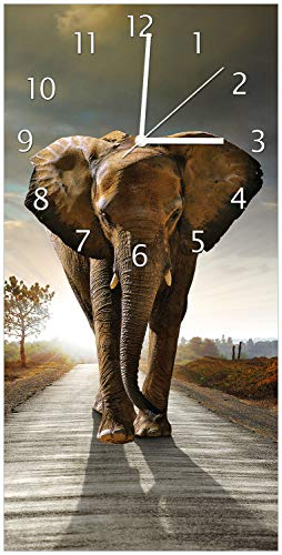 Wallario Design Wanduhr Elefant bei Sonnenaufgang in Afrika aus Acrylglas, Größe 30 x 60 cm, weiße Zeiger - 1