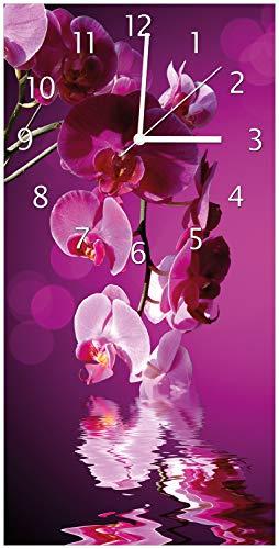 Wallario Design Wanduhr Rosafarbene Orchidee Blüten in pink aus Acrylglas, Größe 30 x 60 cm, weiße Zeiger - 1