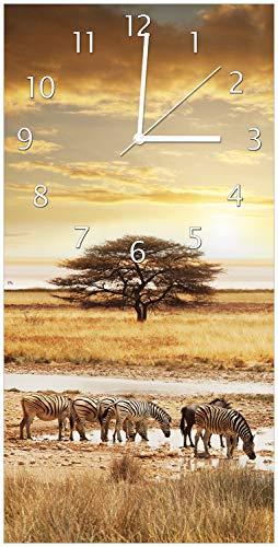 Wallario Design Wanduhr Safari in Afrika eine Herde Zebras am Wasser aus Acrylglas, Größe 30 x 60 cm, weiße Zeiger - 1