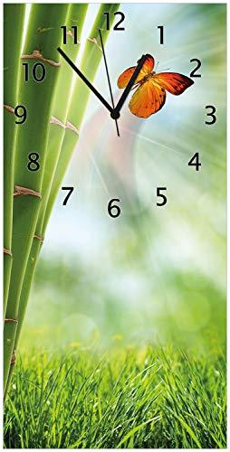 Wallario Design Wanduhr Schmetterling im Grünen mit Bambus aus Acrylglas, Größe 30 x 60 cm, Schwarze Zeiger - 1