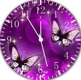 Wanduhr 25,0 cm, Schmetterling-Motiv, Violett, tolles Geschenk, E25 - 1