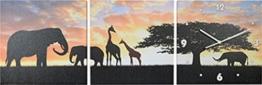Wanduhr Afrika Elefanten und Giraffen 3 teilig Uhr TOP - 1