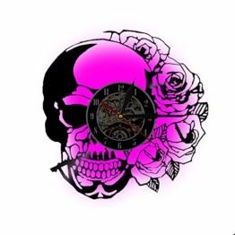 Wanduhr, handgefertigt Zombie-Silhouette Totenkopf Kreative Vinyl-Schallplatten Halloween Party - 1