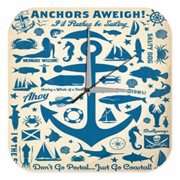 Wanduhr Maritime Deko Anker Fische Meerjungfrau Steuerrad Acryl Uhr Vintage Retro - 1