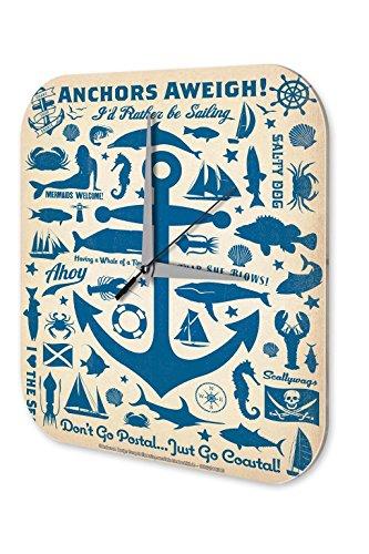 Wanduhr Maritime Deko Anker Fische Meerjungfrau Steuerrad Acryl Uhr Vintage Retro - 4