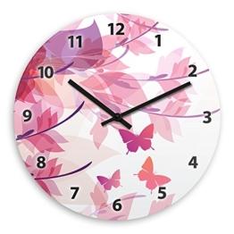 Wanduhr mit Motiv mit Schmetterlingen für Mädchen | Kinderzimmer-Uhr | Kinder-Uhr - 1