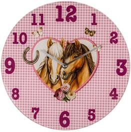 Wanduhr rosa aus Glas Pferdepärchen - 33 cm 0916 ~ - 1