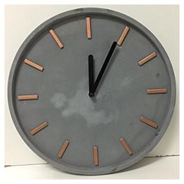 Wanduhr rund aus Zement grau und Metall Kupfer - 1