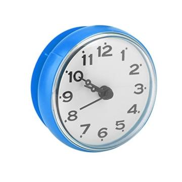 Wasserdichte Dusche Uhr mit Saugnapf Runden Arabischen Digitalen Zifferblatt für Bad Dusche Uhr Bad Küche Zubehör Banduhr Wandmontage(blau) - 3