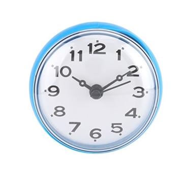 Wasserdichte Dusche Uhr mit Saugnapf Runden Arabischen Digitalen Zifferblatt für Bad Dusche Uhr Bad Küche Zubehör Banduhr Wandmontage(blau) - 1