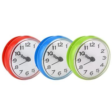 Wasserdichte Dusche Uhr mit Saugnapf Runden Arabischen Digitalen Zifferblatt für Bad Dusche Uhr Bad Küche Zubehör Banduhr Wandmontage(blau) - 5