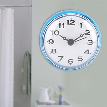Wasserdichte Dusche Uhr mit Saugnapf Runden Arabischen Digitalen Zifferblatt für Bad Dusche Uhr Bad Küche Zubehör Banduhr Wandmontage(blau) - 6