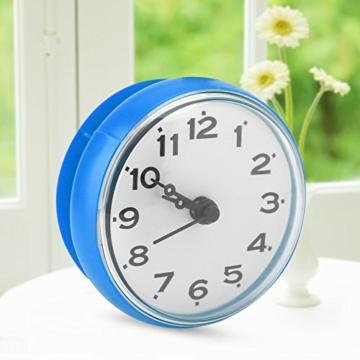 Wasserdichte Dusche Uhr mit Saugnapf Runden Arabischen Digitalen Zifferblatt für Bad Dusche Uhr Bad Küche Zubehör Banduhr Wandmontage(blau) - 7